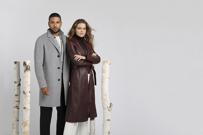 male and female models wearing autumn wool and leather outerwear