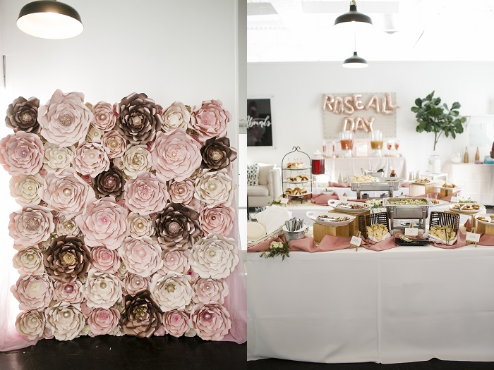 floral photo wall and Park Studios interior