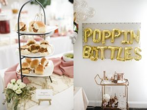 hors d'oeuvres tiered stand and poppin bottles balloon installation