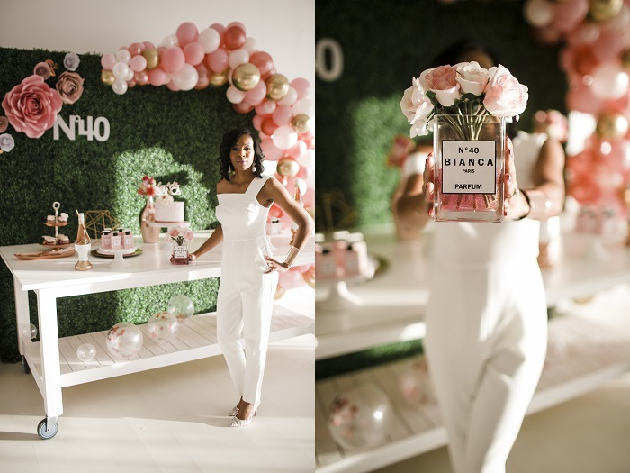 40th birthday outfit and custom rose arrangement
