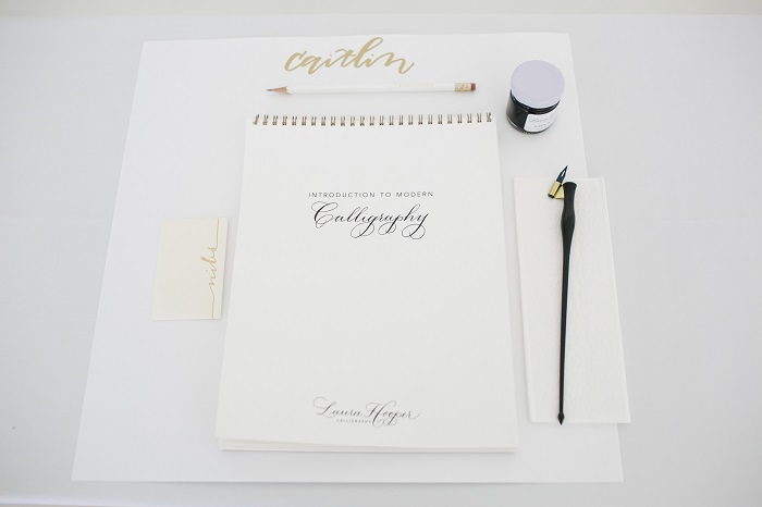 calligraphy workshop place setting