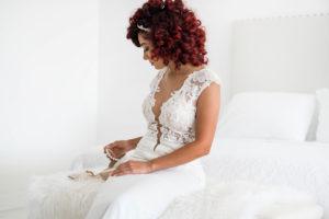 Kayla Madonna modeling wedding dress