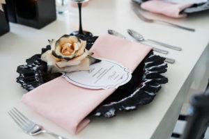black and blush wedding place setting