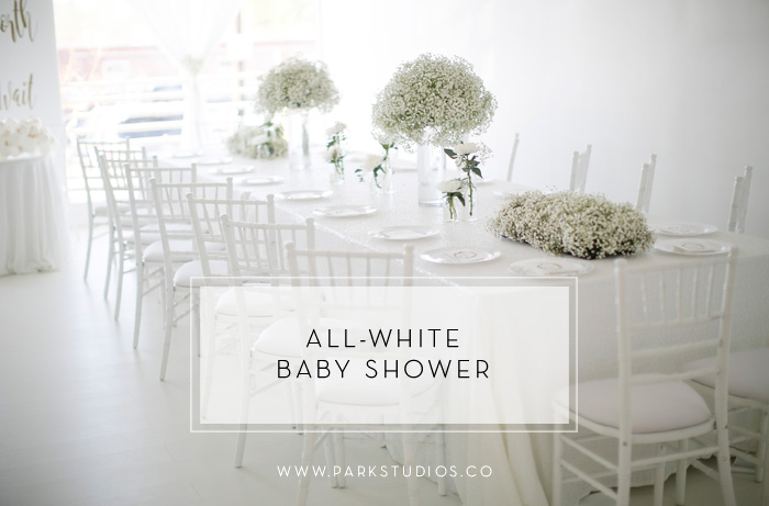 all-white baby shower