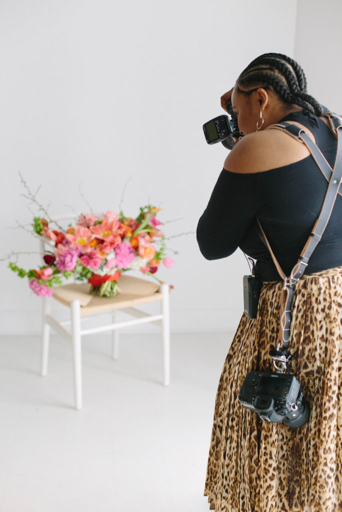 Samantha Clarke shooting wedding florals designed by Stylish Stems