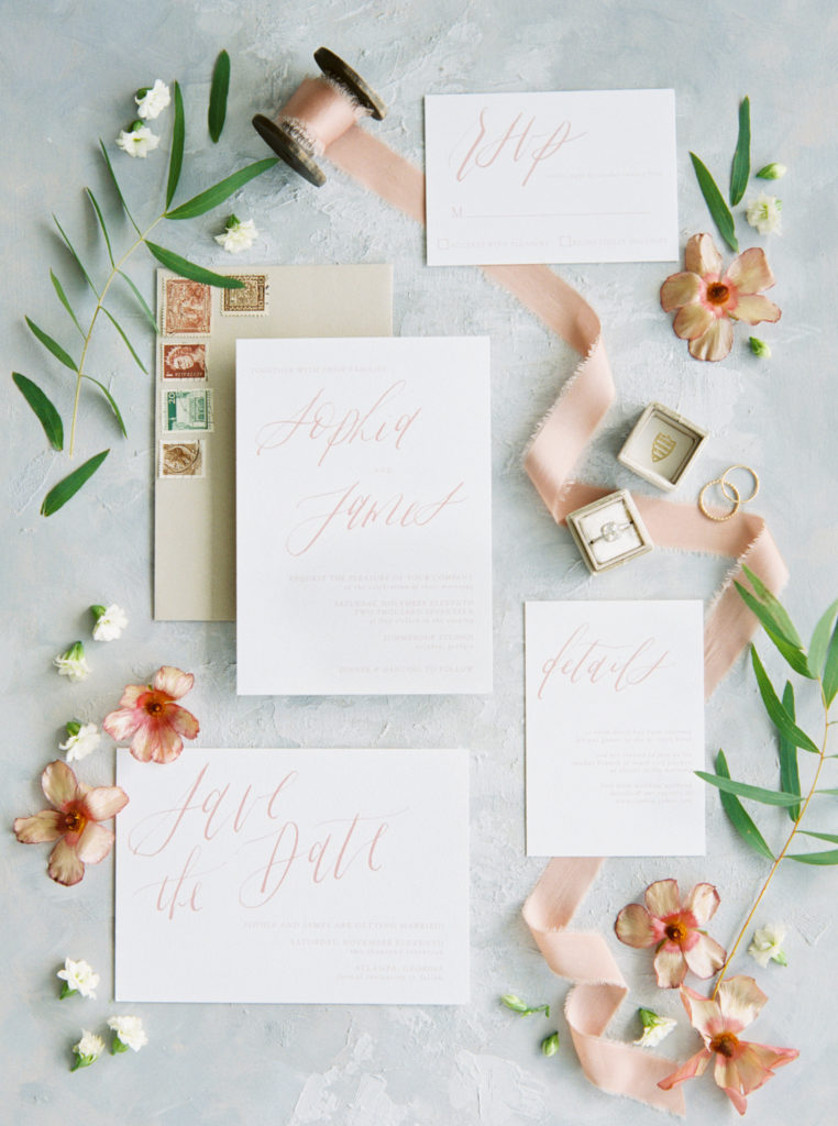 spring wedding stationery flat lay
