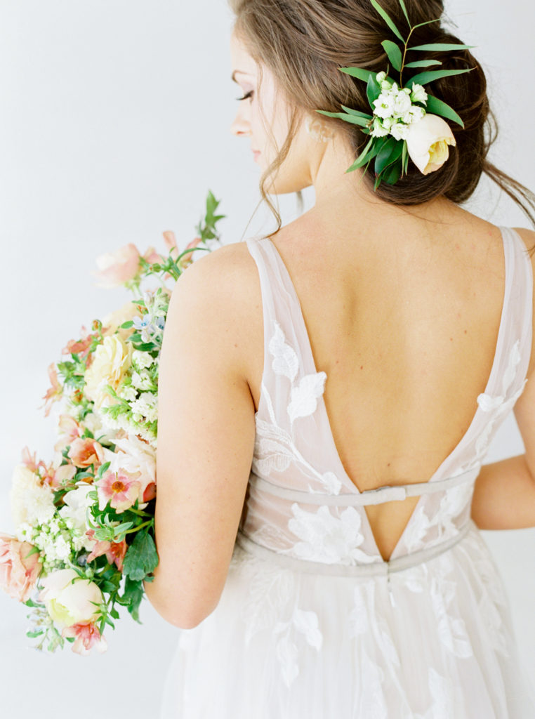 back of spring bridal gown by BHLDN