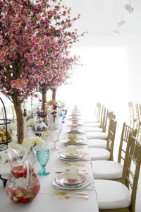 long view of spring baby shower table at Park Studios Atlanta