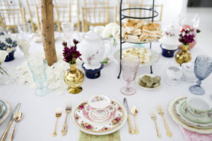 spring baby shower place setting with vintage dishes from The Prissy Plate Company
