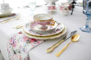 The Prissy Plate Company pink and gold place setting