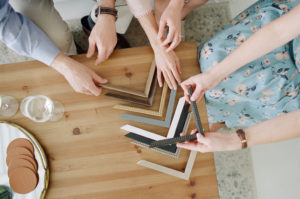 selecting frame wood with Anna Olivia Photography