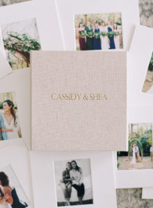 beautiful linen covered wedding album embroidered with bride and groom's names
