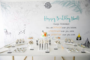 wild one party decal wall and dessert table