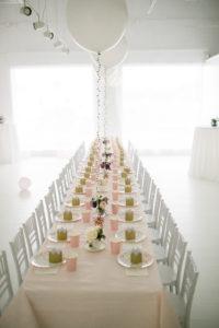 banquet style table setting garden tea party