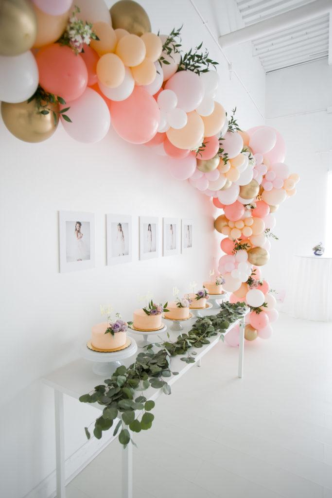 balloon installation, portraits, cakes
