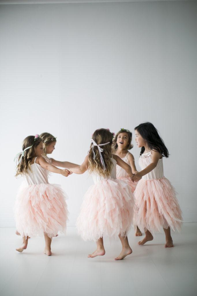 five girls, garden tea party, ring around the rosie